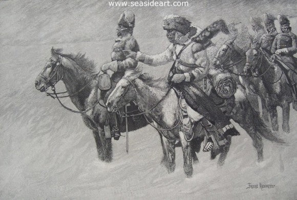 Canadian Mounted Police on a Winter Expedition by Frederic Sackrider Remington - Seaside Art Gallery