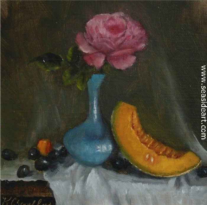 Cantaloupe and Rose by Karen Chamblin - Seaside Art Gallery