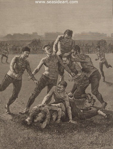 College Players at Football - A Tackle & Ball - Down by Frederic Sackrider Remington - Seaside Art Gallery