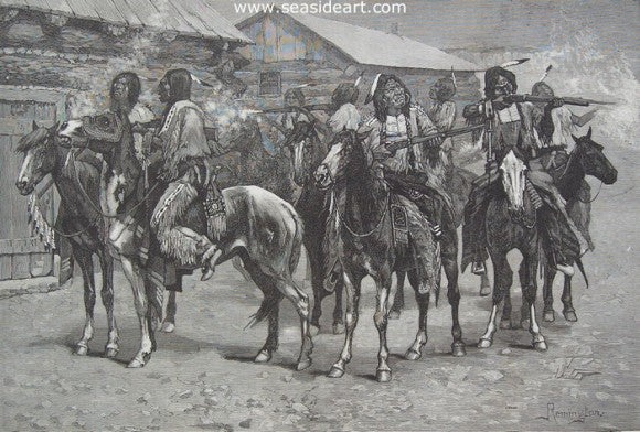 Crow Indians Firing Into the Agency by Frederic Sackrider Remington - Seaside Art Gallery