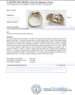 Diamond & Synthetic Lady's Ruby Ring 14kt Two-tone Gold by Jewelry - Seaside Art Gallery