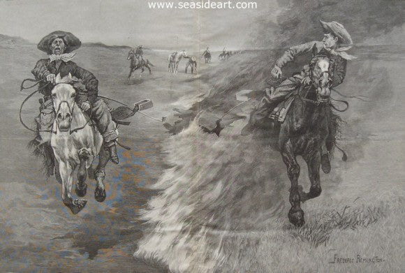 Dragging a Bull's Hide Over a Prairie Fire in Northern Texas by Frederic Sackrider Remington - Seaside Art Gallery