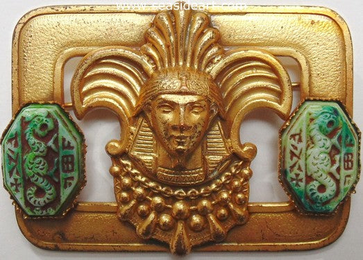 Antique Czech Egyptian Revival Brooch-Neiger Brothers Style by Jewelry - Seaside Art Gallery