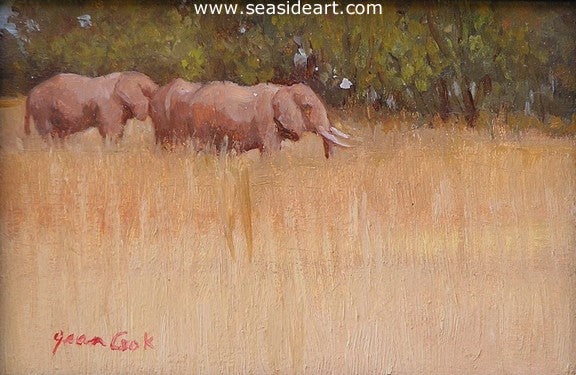 Elephants in Tarangire by Jean Cook - Seaside Art Gallery