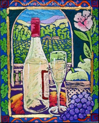 Fruit And Wine by Stephan Whittle - Seaside Art Gallery