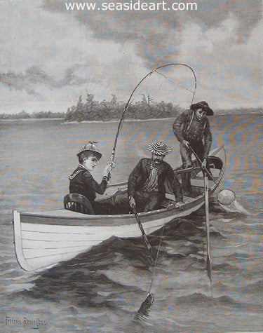 Her First Muskallonge by Frederic Sackrider Remington - Seaside Art Gallery