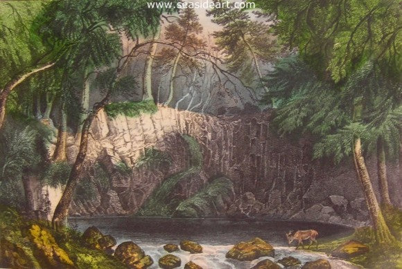 Indian Falls by Currier & Ives - Seaside Art Gallery