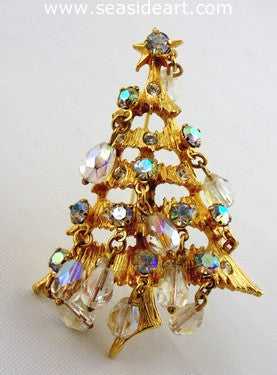 Kirk's Folly Christmas Tree Pin w/Iridescent Dangles