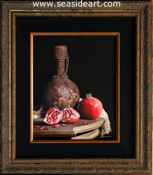 Leather Bottle with Pomegranates