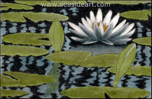 Lily Pond II by David Hunter - Seaside Art Gallery