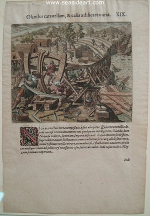 Lope de Olana Rebuilds His Ship, Making a Ship in the New World by Theodore de Bry - Seaside Art Gallery