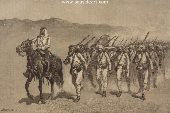Mexican Infantry on the March by Frederic Sackrider Remington - Seaside Art Gallery