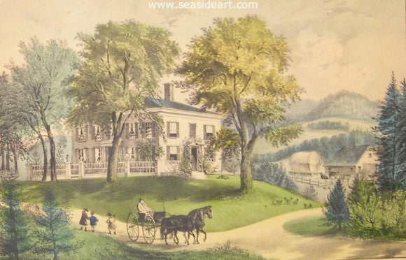 New England Home by Currier & Ives - Seaside Art Gallery