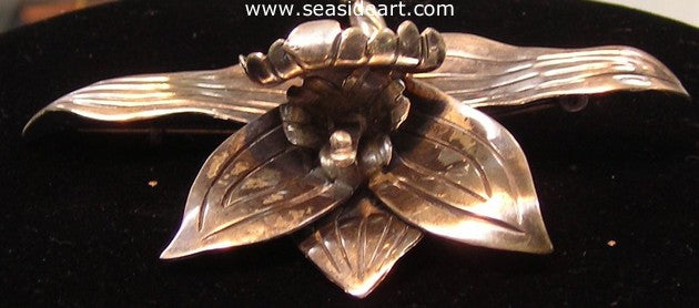Sterling Silver Orchid Pin, Hector Aguilar - Mexico