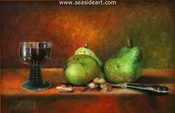 Pears, Peanuts and a Glass of Wine by Debra Keirce - Seaside Art Gallery