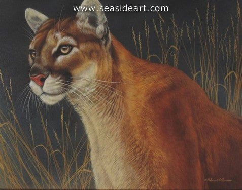 Strength of Presence-Mountain Lion II by Rebecca Latham - Seaside Art Gallery