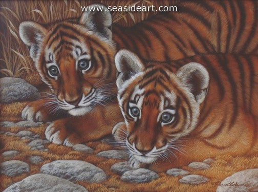 Curious Pair-Tiger Cubs by Rebecca Latham - Seaside Art Gallery