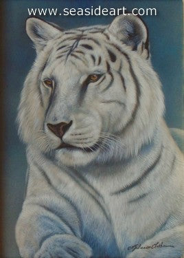 Stoic-White Tiger II by Rebecca Latham - Seaside Art Gallery