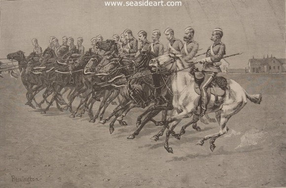 Royal Canadian Mounted Police On A Musical Ride - Charge by Frederic Sackrider Remington - Seaside Art Gallery