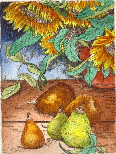 Sunflowers & Pears by Carolyn A. Cohen - Seaside Art Gallery