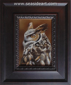 Symbol of Wisdom I-Great Horned Owl by Rebecca Latham - Seaside Art Gallery
