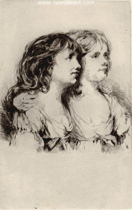 The Twins – Sarah and Anne Haden, No. II by Sir Francis Seymour Haden - Seaside Art Gallery
