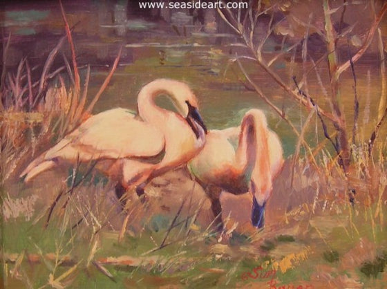 Two Swans by Sun Bauer - Seaside Art Gallery