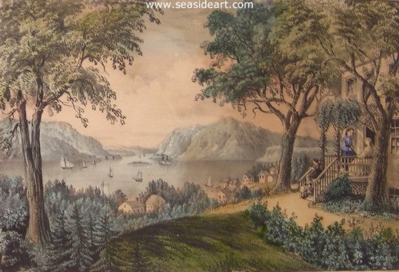 View On The Hudson River by Currier & Ives - Seaside Art Gallery