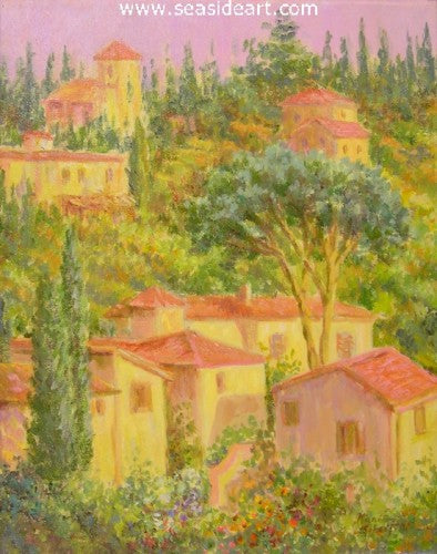 Village In Tuscany by Karin Schaefers - Seaside Art Gallery