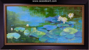 Water Lily Blues by Alice Ann Dobbin - Seaside Art Gallery