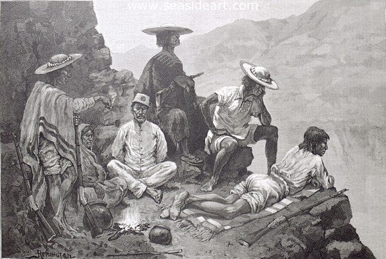 Yaqui Indian Refugees With Captive Mexican Soldier
