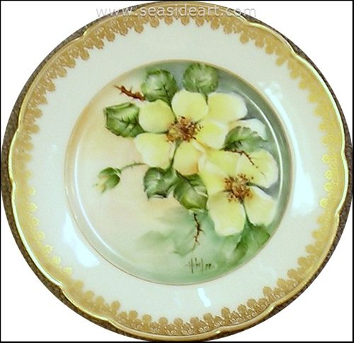 Yellow Roses Plate by Hebe Lee Wiseman - Seaside Art Gallery