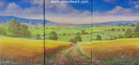 Fields of Green & Gold by Chester Martin - Seaside Art Gallery