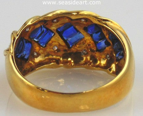 Sapphire & Diamond Ring 18kt Yellow Gold by Jewelry - Seaside Art Gallery