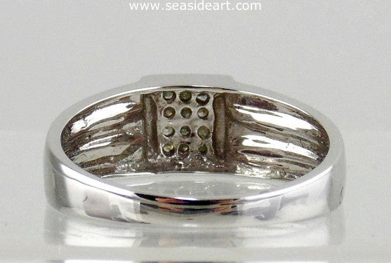 Diamond Man's Ring 10kt White Gold by Jewelry - Seaside Art Gallery