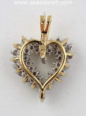 P1222 Vintage Heart-Shaped Pendant with Pattern Design /& Genuine Gemstones 14k Solid Yellow Gold