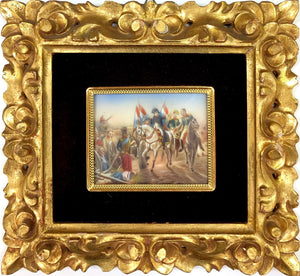 19th C Miniature Oil Painting-Napolean Battle Scene II
