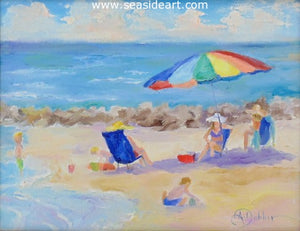Beach Party by Alice Ann Dobbin - Seaside Art Gallery