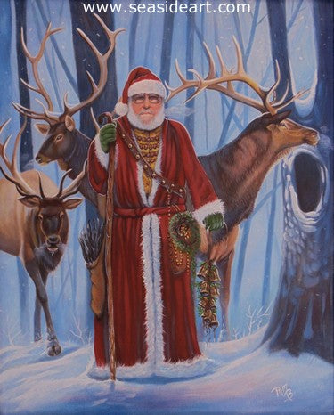 Belsnickel, Elk & Bells by Pamela Brown Broockman - Seaside Art Gallery