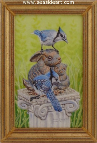 Blue Jays With Baby Bunnies Sculpture by Beverly Abbott - Seaside Art Gallery