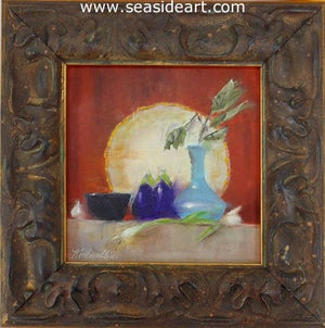 Blue Vase and Eggplants by Karen Chamblin - Seaside Art Gallery