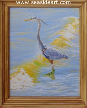 Breaking Wave (Great Blue Heron) by Beverly Abbott - Seaside Art Gallery
