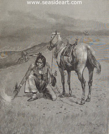Burning the Range by Frederic Sackrider Remington - Seaside Art Gallery