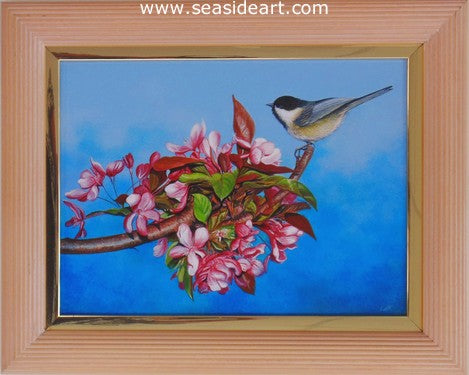 Chickadee on Cherry Tree Branch by N.W. Lalk - Seaside Art Gallery