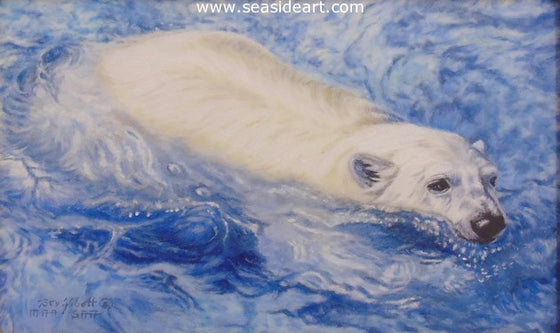 Chilly Churning Water (Polar Bear) by Beverly Abbott - Seaside Art Gallery