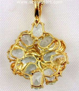 14K Yellow Gold Necklace w/ Aquamarine & Diamond