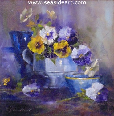 Cobalt and Pansies