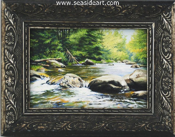 Cool Mountain Stream by Lauri Waterfield - Seaside Art Gallery