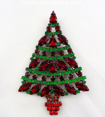 Cristobal London Vintage Christmas Tree Brooch-Red & Green