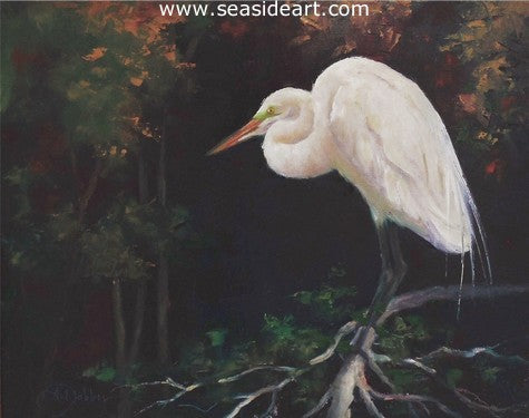 Dreamer (Egret) by Alice Ann Dobbin - Seaside Art Gallery